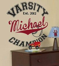 VARSITY Baseball SPORTS Personalized Name Teen Bedroom Vinyl Wall Decal Art