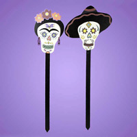 """DAY OF THE DEAD 36"""" Wood Lawn Stakes Halloween Decor Skulls Gothic Fun NEW"""