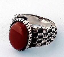 TURQUE Ottoman Naturel Rouge Agate pierre précieuse en argent sterling 925
