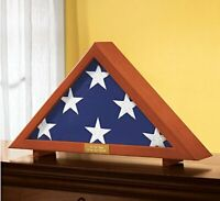 Military Veteran's Memorial Burial Flag Display Case Free Personalized Plaque