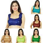 New Women Designer Readymade Partywear Stitched Sleeveless Saree Choli Blouse