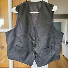 Men's Embroidered Paisley Button Front Black Suit Vest Size Large