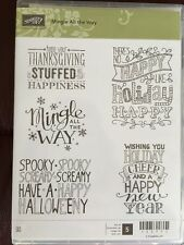 """MINGLE ALL THE WAY"" Stampin'UP! NEW~RUBBER/CLING ~Sayings, Christmas, Halloween"