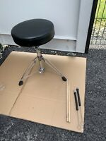 Free P&P. Drum Stool. Screw Shaft Height Adjustable. Sticks Brushes Included ST1