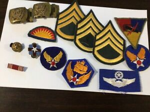 Vintage Mixed Lot Of 60 Military Medals Awards Unit Pins Ribbons Patches