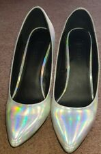Forever 21 Rainbow Metallic Silver Holographic Heels 7