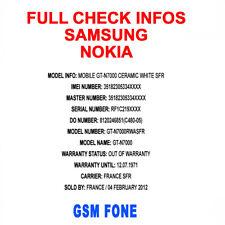 CHECK STATUT SAMSUNG / NOKIA FULL INFOS CARRIER OPERATEUR