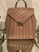 NWT-MK Michael Kors Whitney Fawn Pink Quilted Lamb Leather Backpack (M) - $358