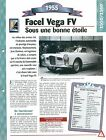 Facel Vega FV 1955 France Car Auto FICHE FRANCE