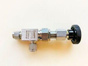 """Swagelok SS-31RS4-A Medium Flow High Pressure Metering Valve 1/4"""" tube hoke"""