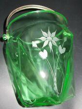 Uranium Glass Hand Etched Floral Pattern Bucket - Pail Vase Hammered Handle