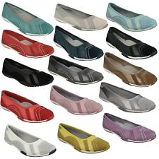 LADIES DOWN TO EARTH SLIP ON LEATHER BALLERINA PUMPS SHOES SIZES F8R991