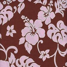 Hawaiian Hibiscus Flowers Pink Brown Wide Sewing Fabric HANALEI BEACH