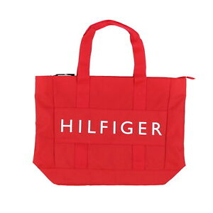 Tommy Hilfiger Tote Shoulder Canvas Shopper Bag Graphic Logo Zip Top Red New Nwt