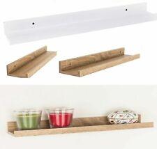 More details for new dura frame display wall mounted shelve shelf rack holder slim white/oak