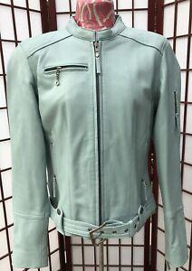 Harley Davidson Falls Lambskin Leather Jacket 97011-08VW Sz M Mint Seafoam Green