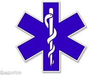 "4"" STAR OF LIFE EMT BLUE CADUCEUS TOOLBOX BUMPER HELMET USA MADE STICKER DECAL"