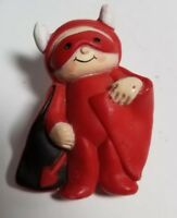"Vintage Fun World Carle Place NY Little Devil Brooch Pin 2"" Halloween hb1"