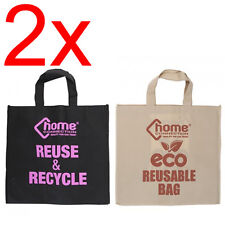 2 X RECYCLE ECO WIDE GUESSETED BAGS SHOPPING HEAVY DUTY SHOP TOTE CARRY BAG NEW.