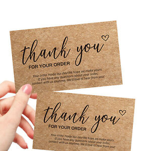20PCS Thank You Card Thank You For Your Order Thank You Business Kraft Card