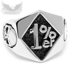 1%er Biker Ring Onepercenter Outlaw Totenkopf Skull 316L Edelstahl massiv silber