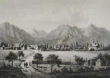 ALPEN - Stahlstich: um 1860: BENEDICTBEUERN von K.Gunkel nach Kreuzer