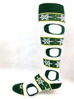 Oregon Ducks NCAA White and Green Striped Snowflake Holiday Crew Long Socks