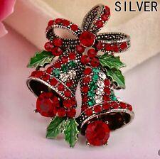 FREE GIFT BAG Ladies Cute Christmas Bells Fashion Crystal Brooch Safety Pin Xmas
