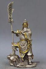 """12"""" China Silver Bronze Guan Gong Dragon Sword Door Guardian Statue"""