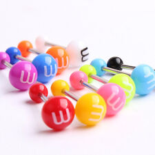 14g Cute Surgical Steel Acrylic Ball Barbell Bar Tongue Ring Stud Piercing Pin All of 10 Colors