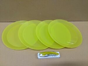 4 New Green Coolest Cooler Plates and Matching Color Beverage Opener