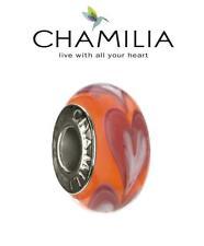 Genuine chamilia 925 Plata Naranja fila de corazones de cristal de Murano encanto grano RRP £ 30