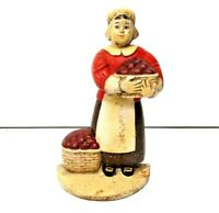 "Vintage Cast Iron Door Stop ""Colonial Woman with Basket of Apples"