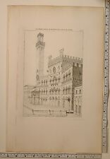 1815 PRINT TUSCAN ARCHITECTURE PERSPECTIVE VIEW PUBLIC PALACE SIENNE SIENA