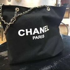 Chanel VIP Canvas Tote - Beauty Gift Tote Canvas - Silver Chain Straps