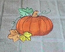 Pumpkin Embroidered Dish Towel For Thanksgiving or Halloween Tan Polyester
