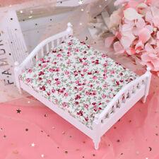 1/12 Dollhouse Miniature Bedroom Furniture Mini Wooden Bed with MattrWGJCAU