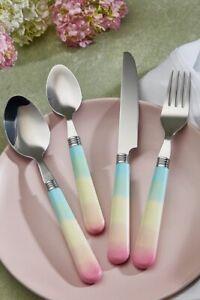 16PieceOmbre Rainbow Gorgeous Cutlery Set Stainless Steel Rainbow HandleXmasGift
