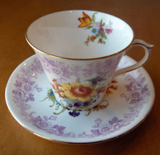 Shelley China England Rose & Daisy Butchers Dresden cup & saucer set~New Regent