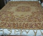 """Antique Vtg. Table Cover Throw Woven Tapestry Tassels 60""""x 60"""" Tan Maroon Gold"""