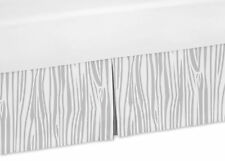 Wood Grain Toddler Bed Skirt Dust Ruffle For Jojo Grey And White Deer Bedding