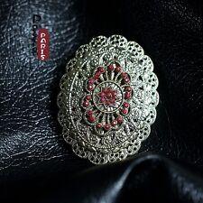 Spilla Ovale AB Fiore Metallico Vintage Stile Originale Sera Matrimonio XZ 2