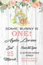 Peter Rabbit Birthday Girl Invite Party Bunny 1st Blue Timber Any Age Invitation