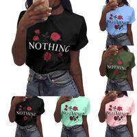 EG_ NOTHING ROSE FLOWER PRINT WOMEN CREW NECK SHORT SLEEVE TOP TEE T-SHIRT POSH