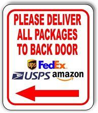 Please Deliver All Packages To Back Door Left Arrow Outdoor Metal Sign