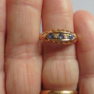 Antique Sapphire And Diamond Ring -18ct  Bir 1911