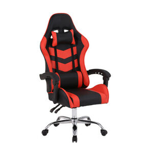 Gaming Home Chair Office Adjustable Comfortable Racing Red Black Highback