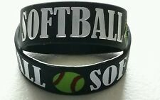 "1"" Softball Black Silicone Bracelet - White - Yellow Softball -Ink Filled-Sports"