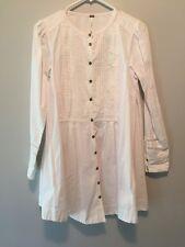 Free People White Swing Bib Front Lace Button Down Tunic Dress Size XS