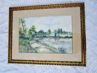 tableau-aquarelle de NUGUE.S -cadre en bois doré-paysage étang/nature